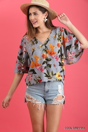 Umgee USA Striped-Floral Wrap Top - Product Mini Image