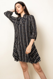 THML  Black Diamond Striped Tie Neck Shift Dress - Product Mini Image