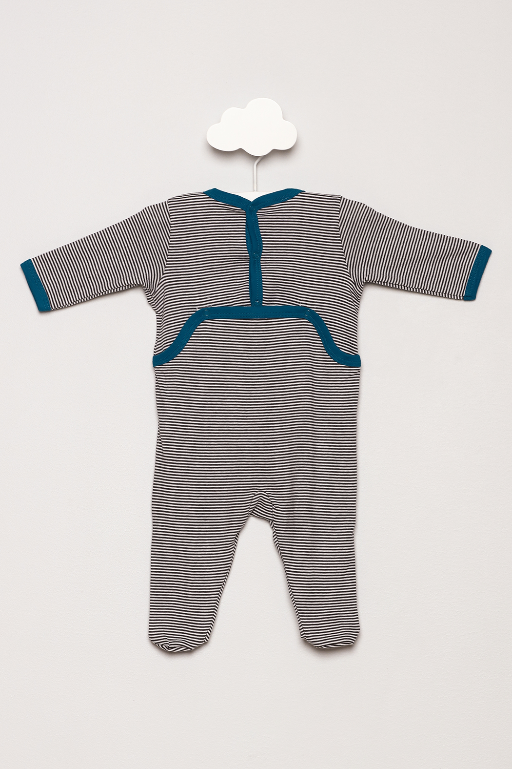Petit Bateau Striped Footie Pajamas - Back Cropped Image