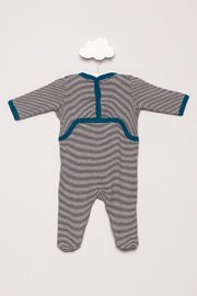 Petit Bateau Striped Footie Pajamas - Back cropped