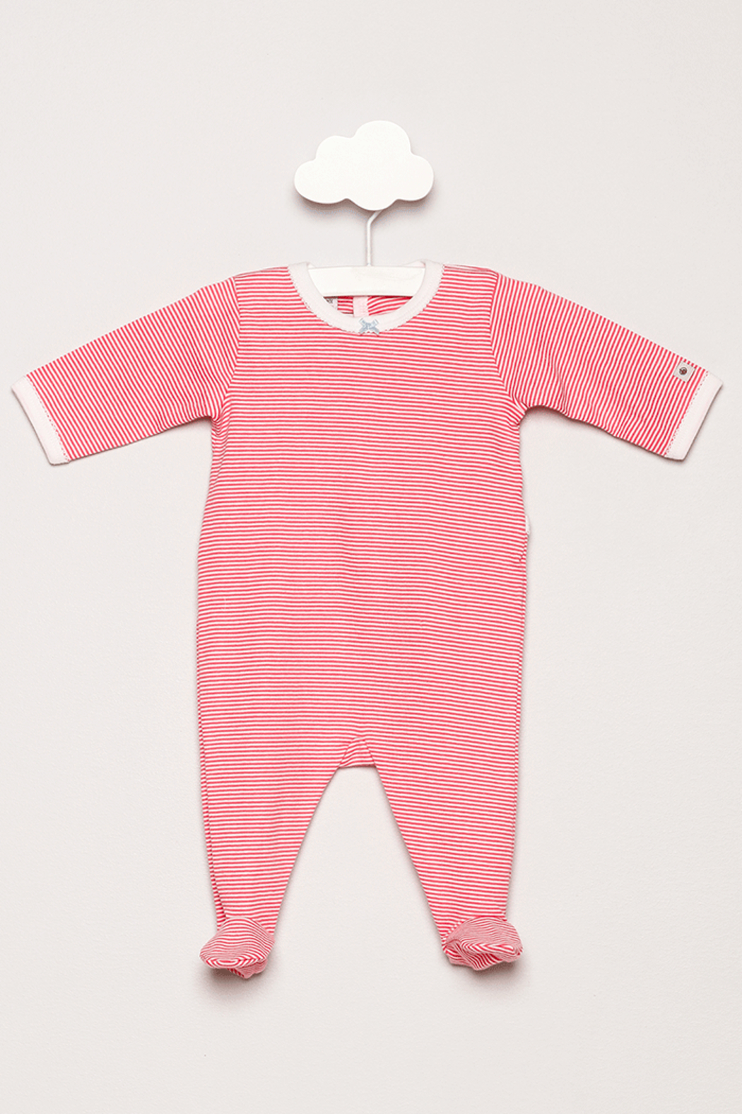 Petit Bateau Striped Footie Pajamas - Front Cropped Image