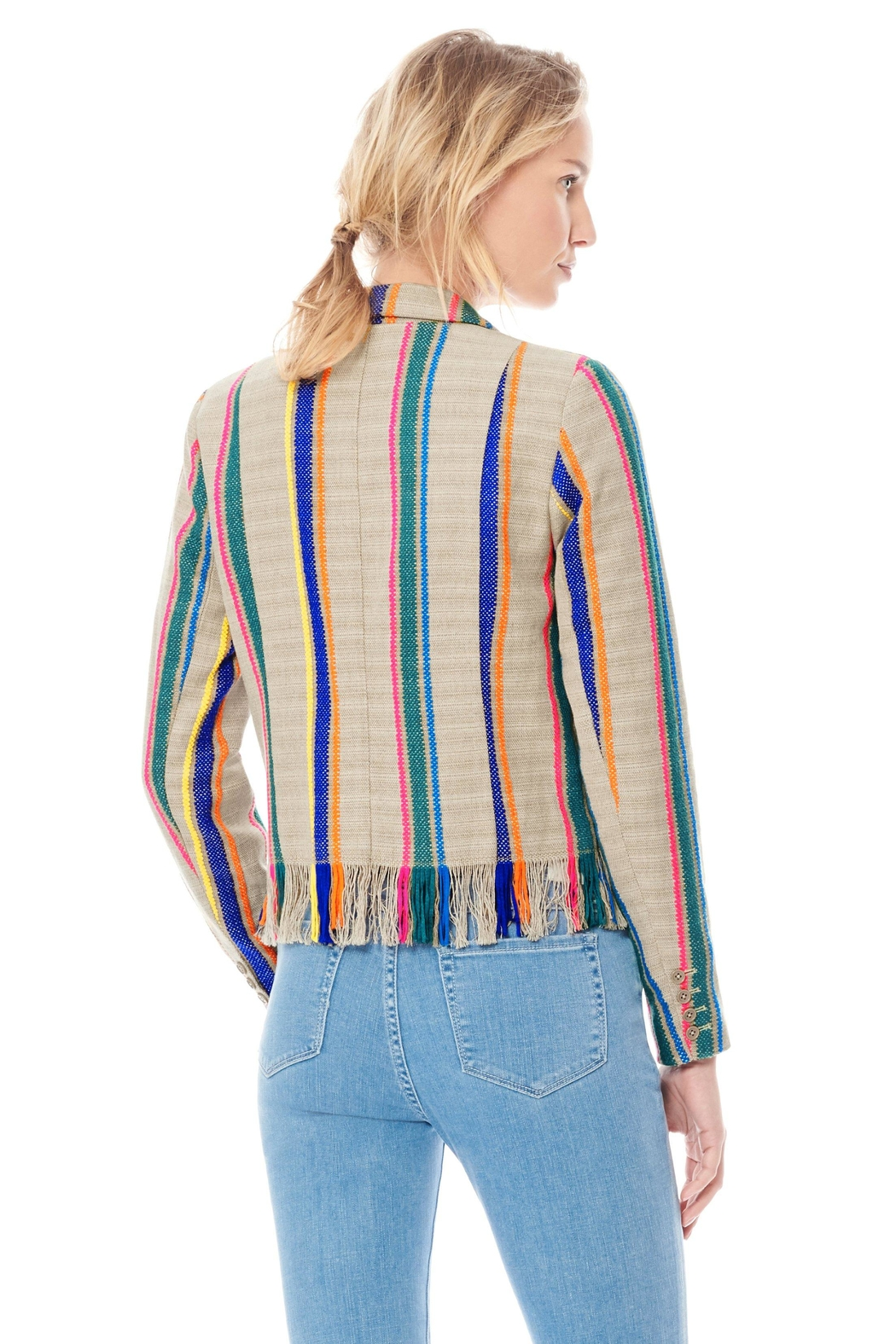 Ecru Striped Fringe Jacket - Front Full Image