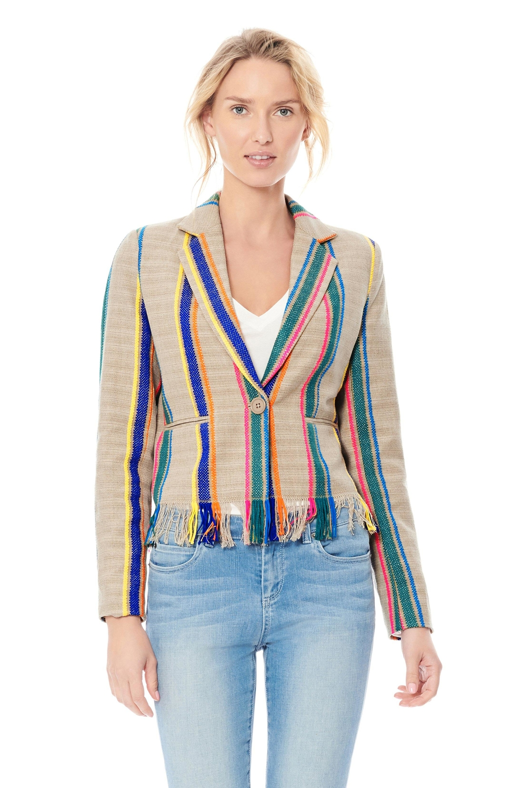 Ecru Striped Fringe Jacket - Side Cropped Image