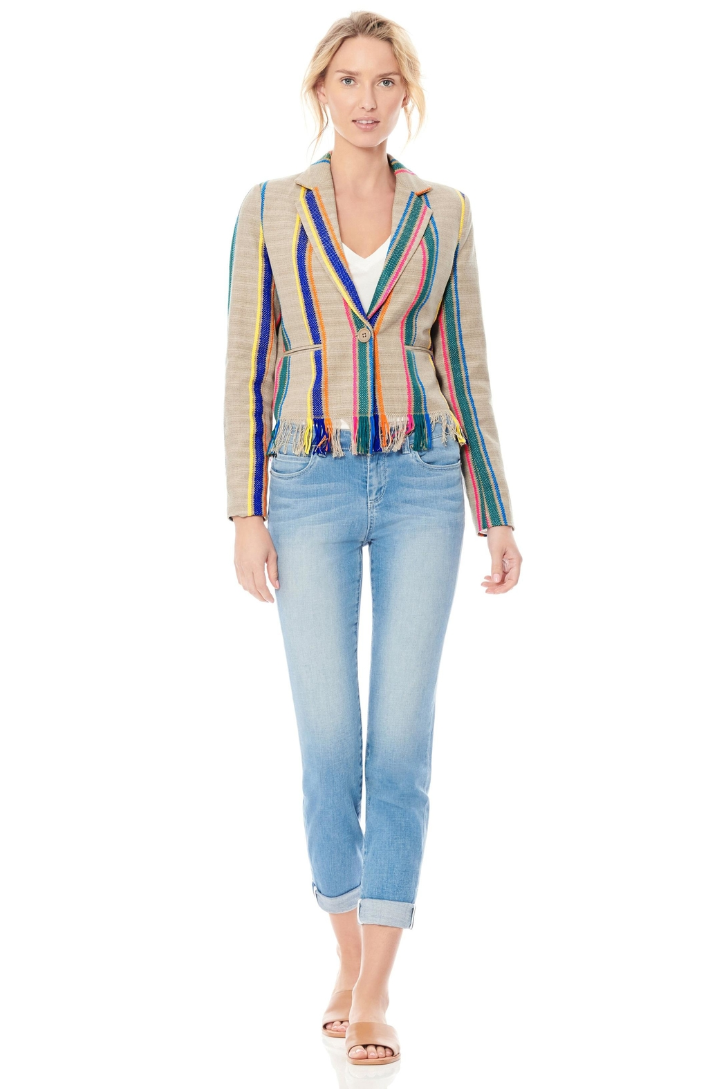 Ecru Striped Fringe Jacket - Main Image