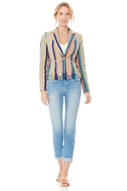 Ecru Striped Fringe Jacket - Front cropped