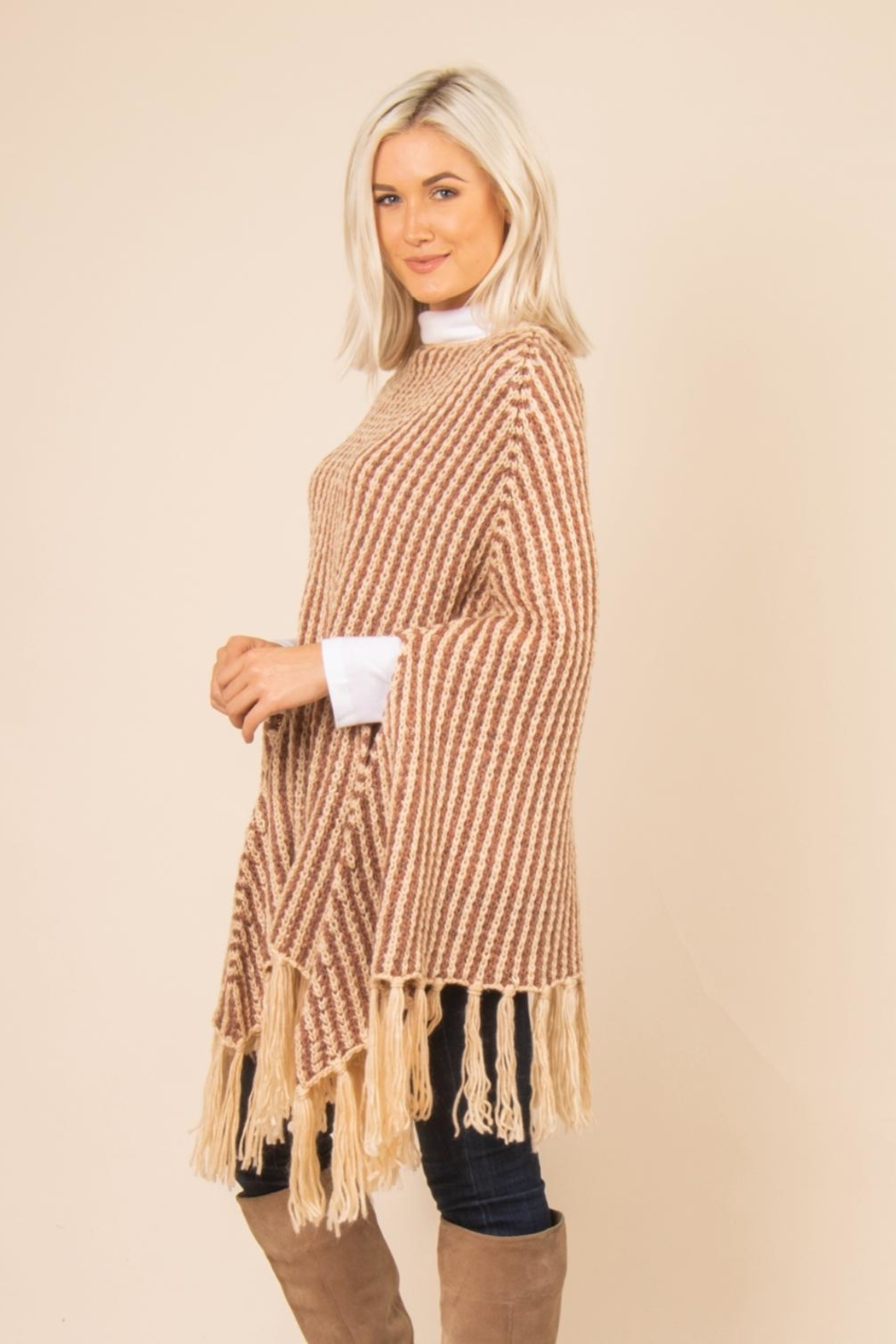 Simply Noelle Striped Fringe Poncho - Front Full Image