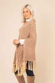 Simply Noelle Striped Fringe Poncho - Front full body