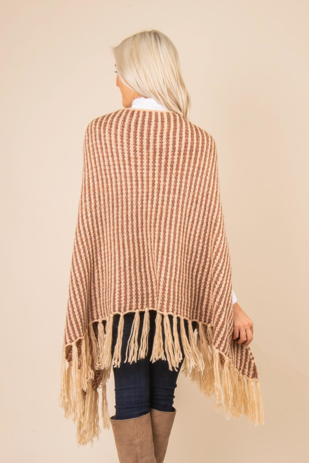 Simply Noelle Striped Fringe Poncho - Side Cropped Image