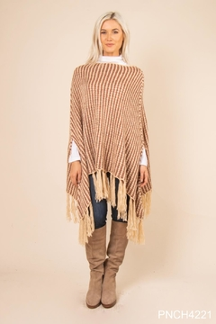 Simply Noelle Striped Fringe Poncho - Product List Image