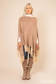 Simply Noelle Striped Fringe Poncho - Product Mini Image