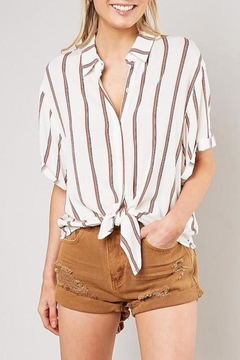 Shoptiques Product: Striped Front-Tie-Button-Down Top