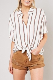 Mustard Seed Striped Front-Tie-Button-Down Top - Product Mini Image