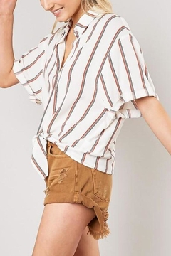Mustard Seed Striped Front-Tie-Button-Down Top - Alternate List Image