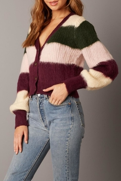 Cotton Candy Striped Fuzzy Cardigan - Product List Image