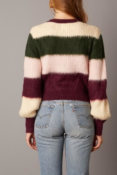 Cotton Candy Striped Fuzzy Cardigan - Alternate List Image