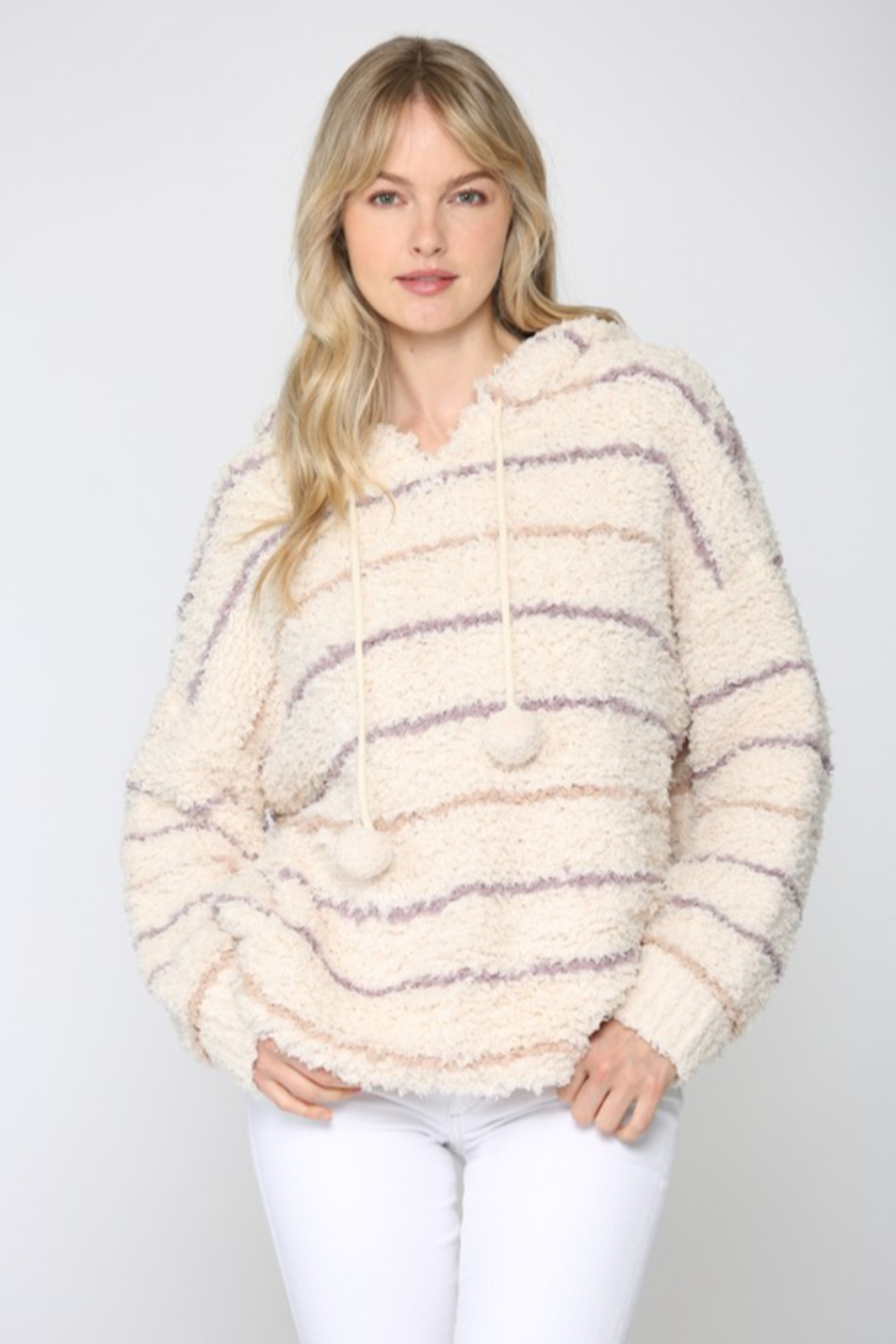 Fate Striped Fuzzy Knit Hoodie - Main Image