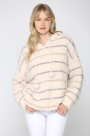 Fate Striped Fuzzy Knit Hoodie - Front cropped