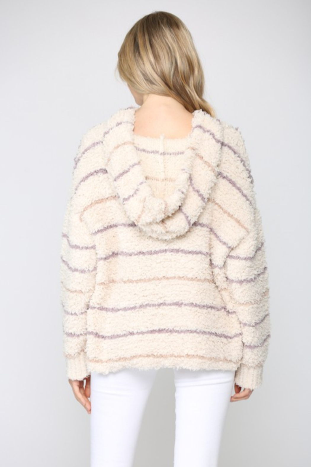 Fate Striped Fuzzy Knit Hoodie - Front Full Image