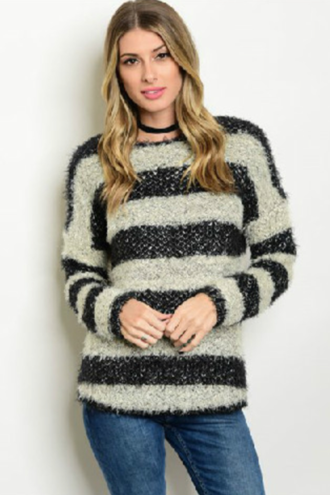 Cozy Casual Striped Fuzzy Sweater - Main Image