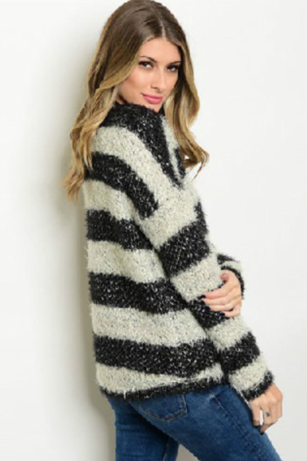 Cozy Casual Striped Fuzzy Sweater - Front Full Image