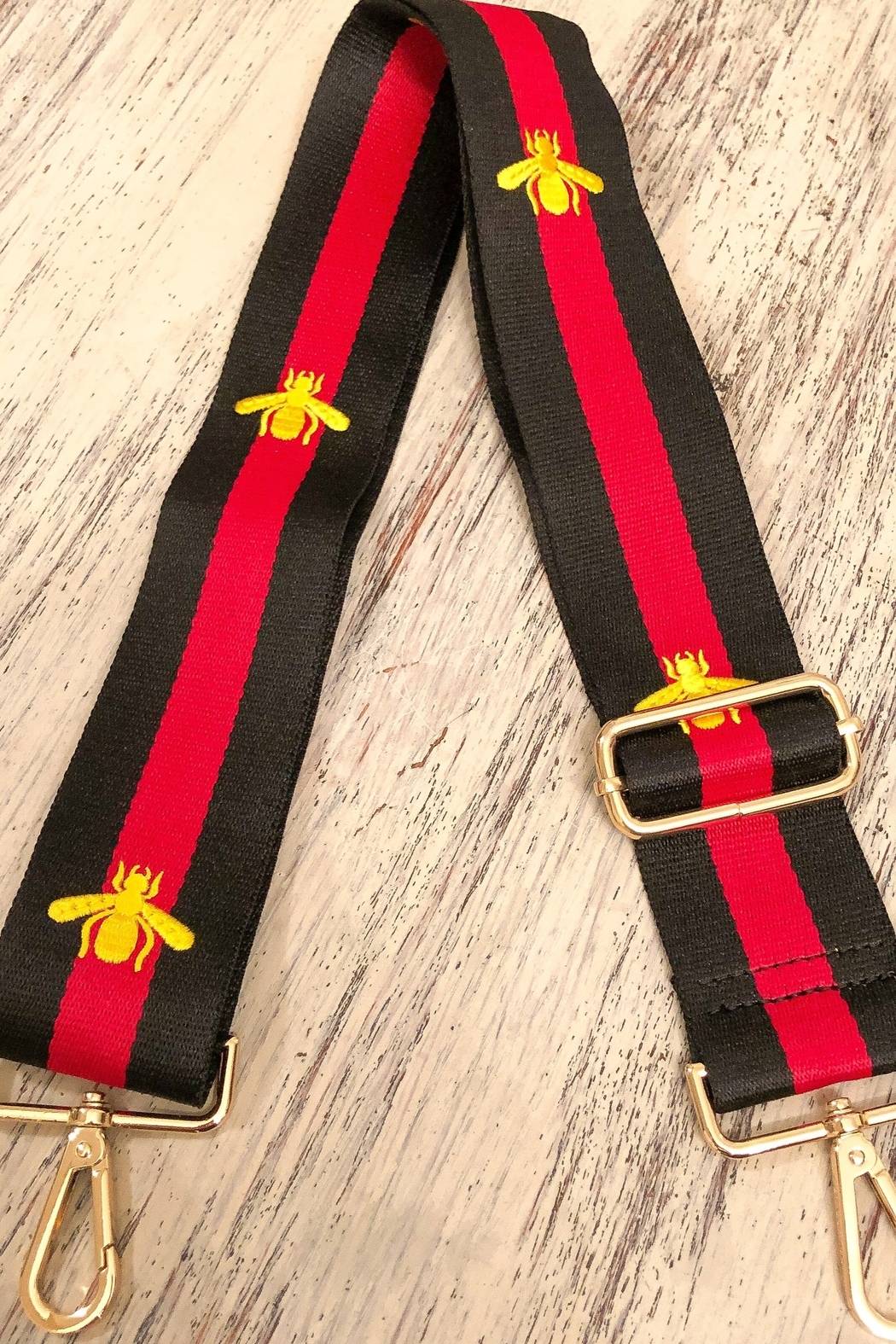 Ahdorned Striped Gold Bee Bag Strap Red - Main Image