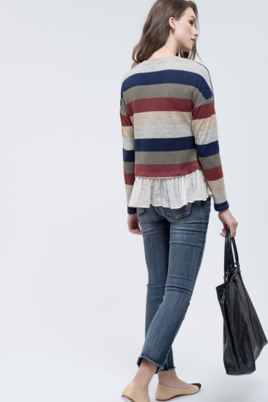 blu Pepper  Striped Hacci sweater with ruffle - Front Full Image