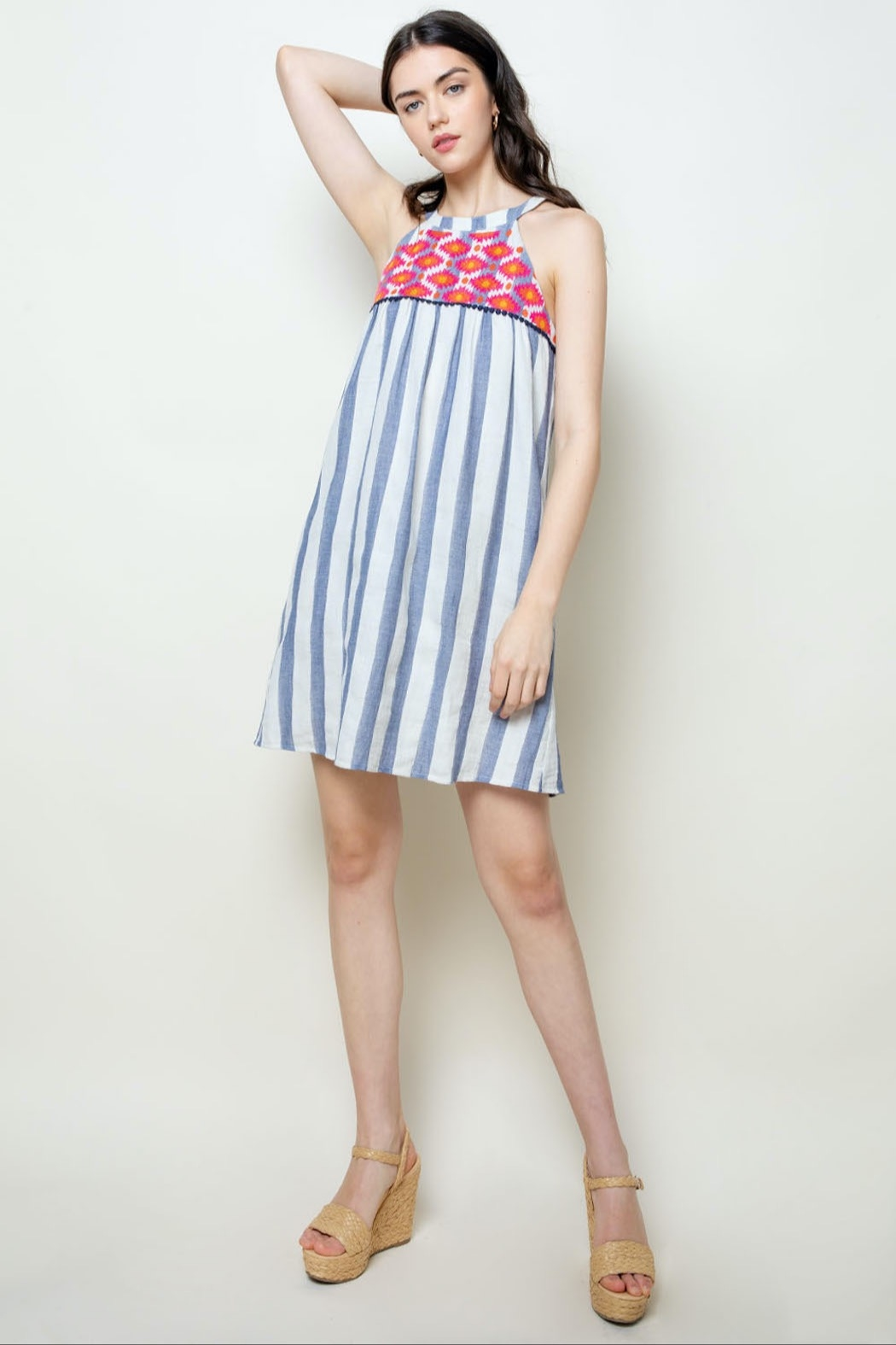 THML Clothing Striped Halter Dress - Side Cropped Image
