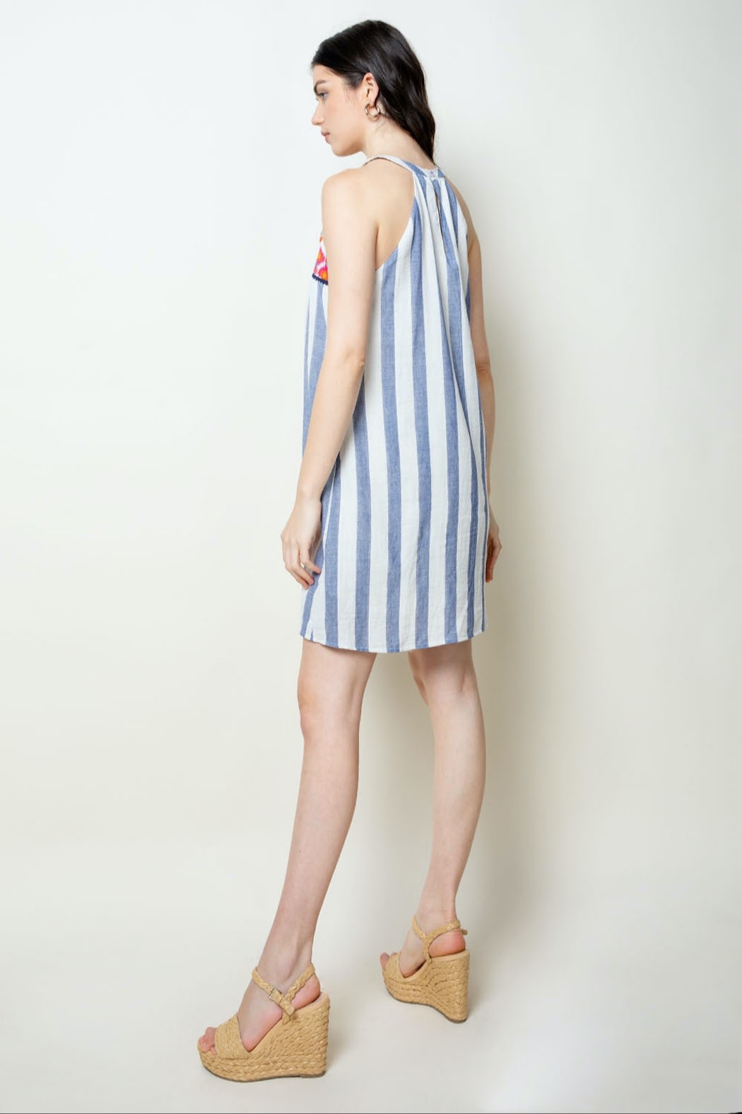 THML Clothing Striped Halter Dress - Back Cropped Image