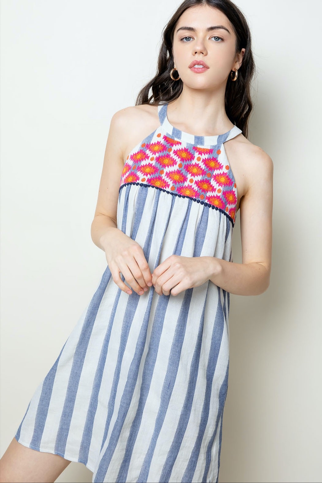 THML Clothing Striped Halter Dress - Main Image