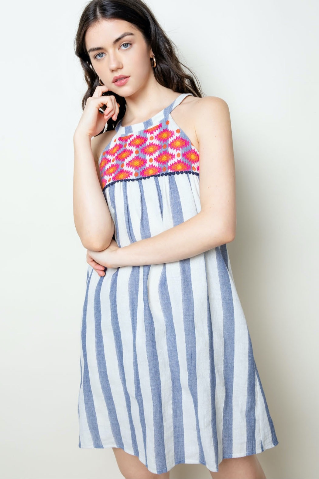 THML Clothing Striped Halter Dress - Front Full Image
