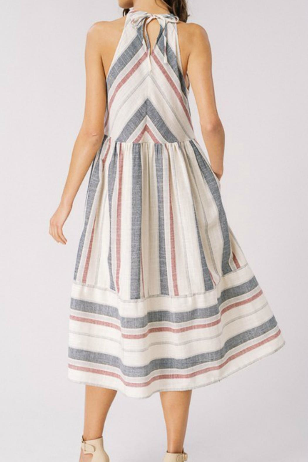 Cezanne Striped Halter Dress - Side Cropped Image