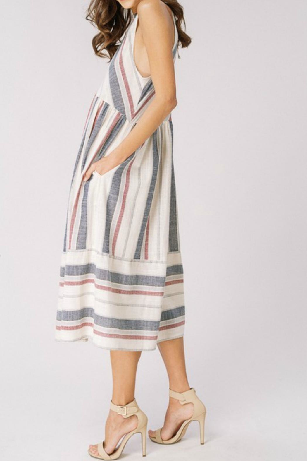 Cezanne Striped Halter Dress - Front Full Image