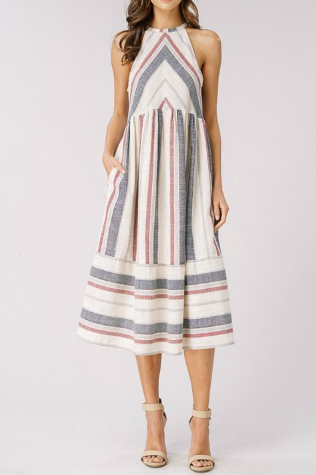Cezanne Striped Halter Dress - Main Image