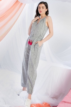 THML Clothing Striped Halter Jumpsuit - Product List Image
