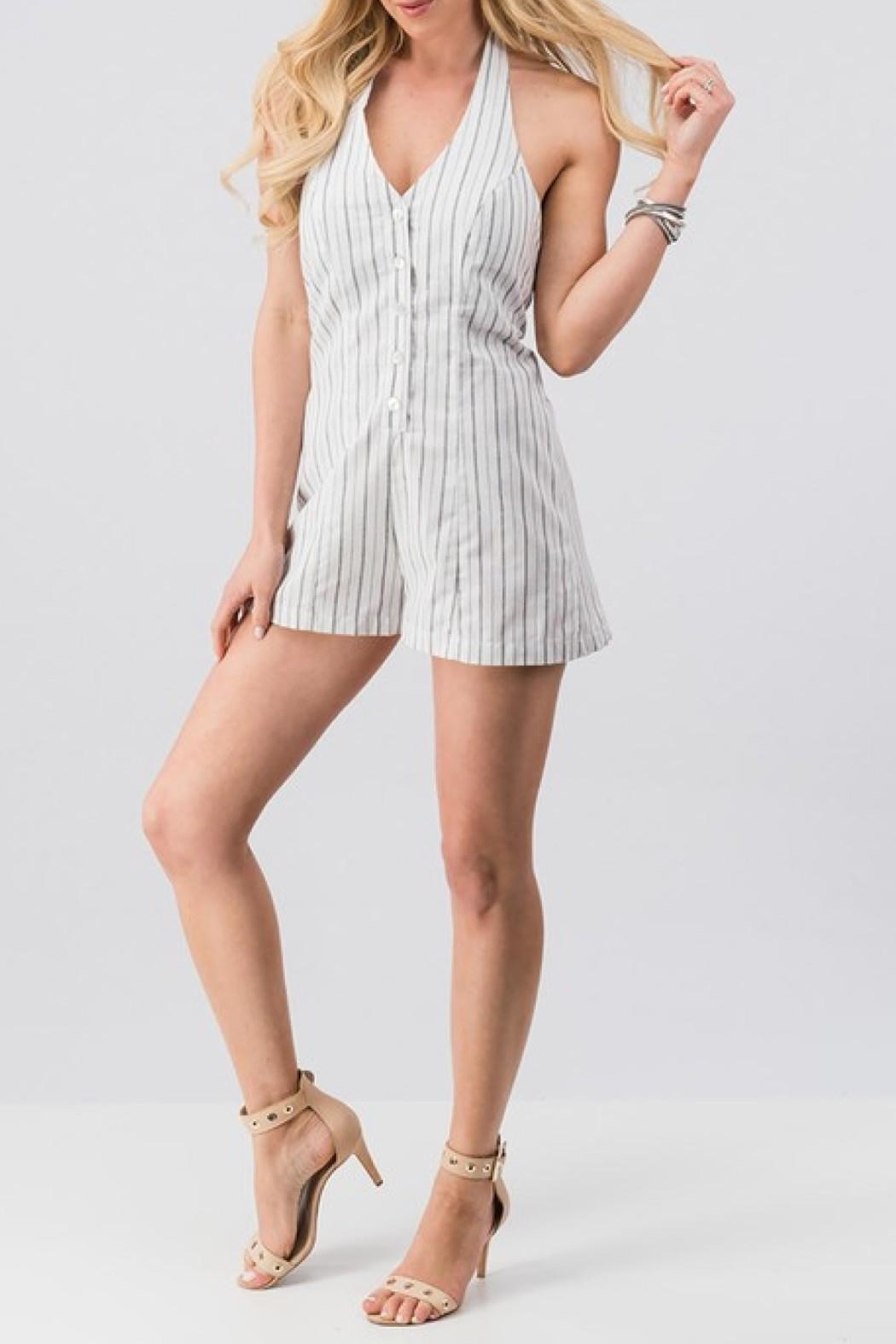 Love Tree Striped Halter Romper - Front Cropped Image
