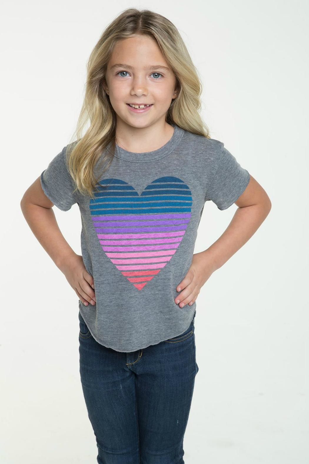 Chaser Striped Heart Tee - Front Full Image