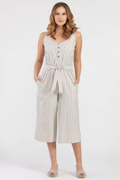 Tribal Striped Henley Jumpsuit - Product List Image