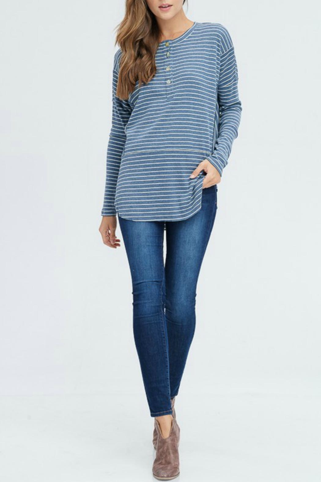 In Loom Striped Henley Top - Main Image