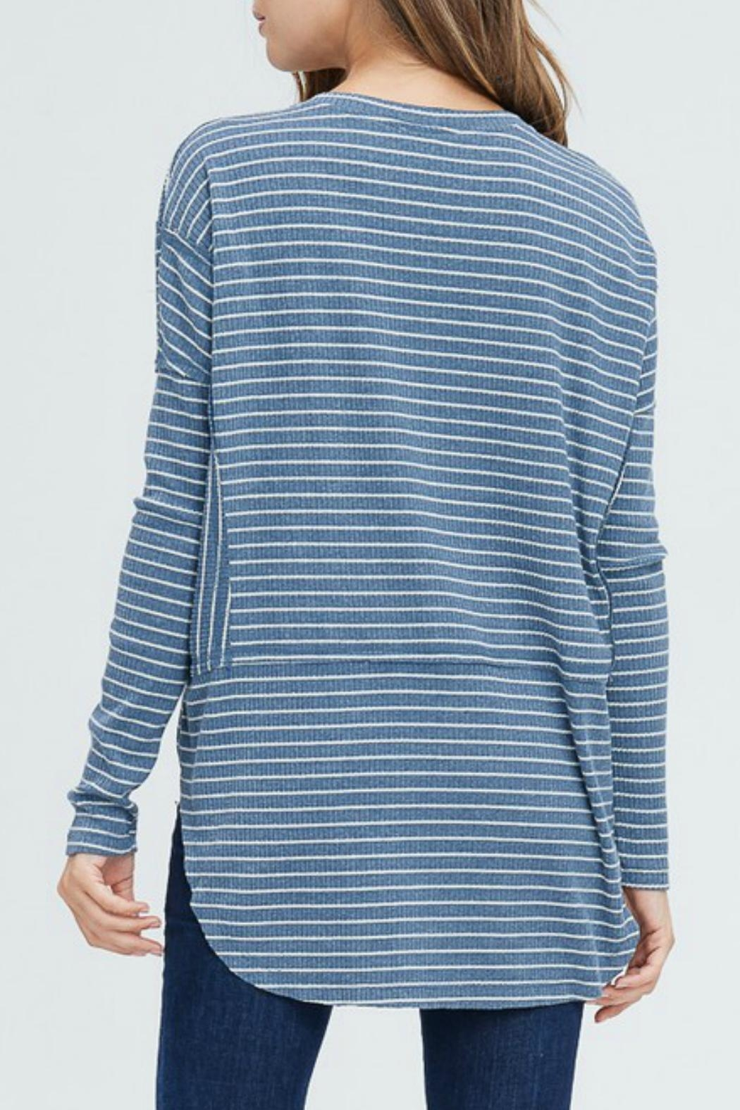 In Loom Striped Henley Top - Front Full Image