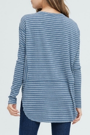 In Loom Striped Henley Top - Front full body