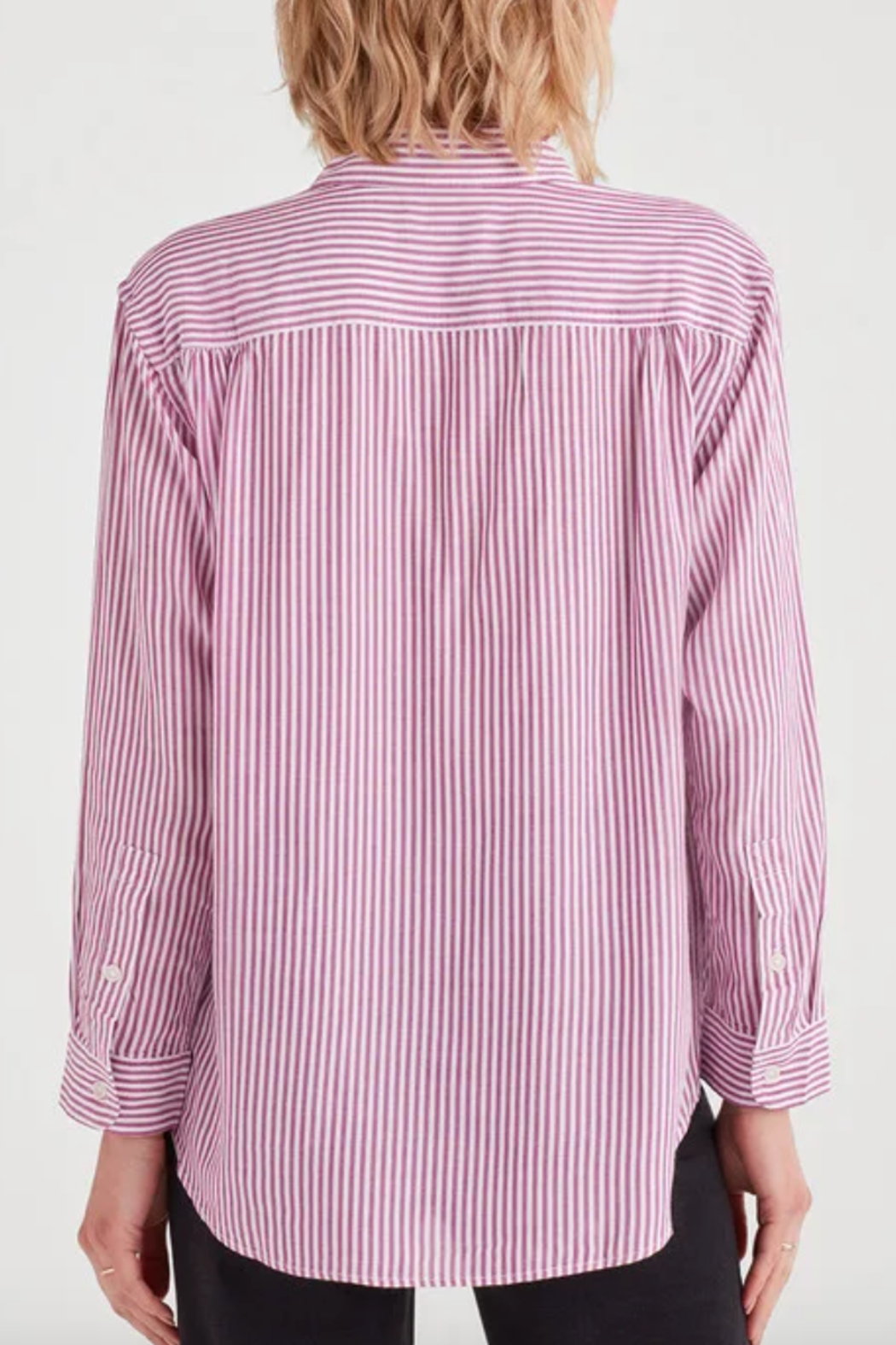 7 For all Mankind Striped High Low Tie Front Shirt - Side Cropped Image