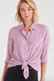 7 For all Mankind Striped High Low Tie Front Shirt - Product Mini Image