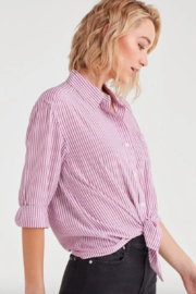 7 For all Mankind Striped High Low Tie Front Shirt - Front full body