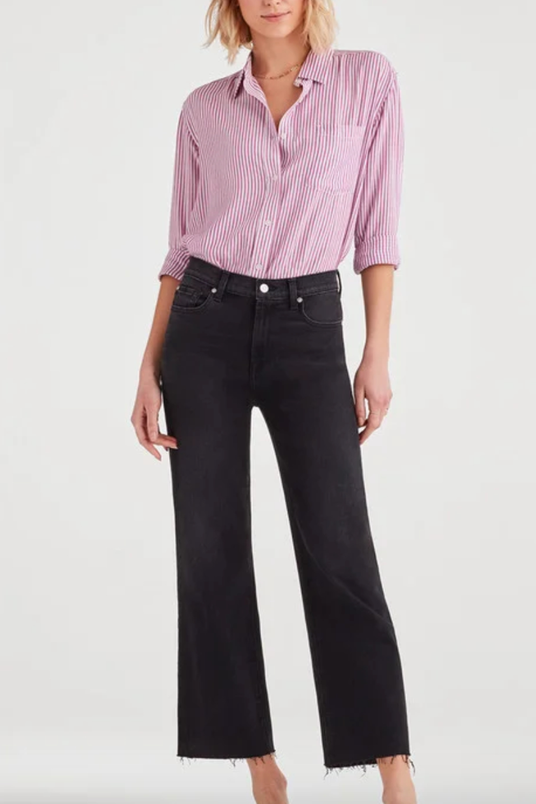 7 For all Mankind Striped High Low Tie Front Shirt - Back Cropped Image