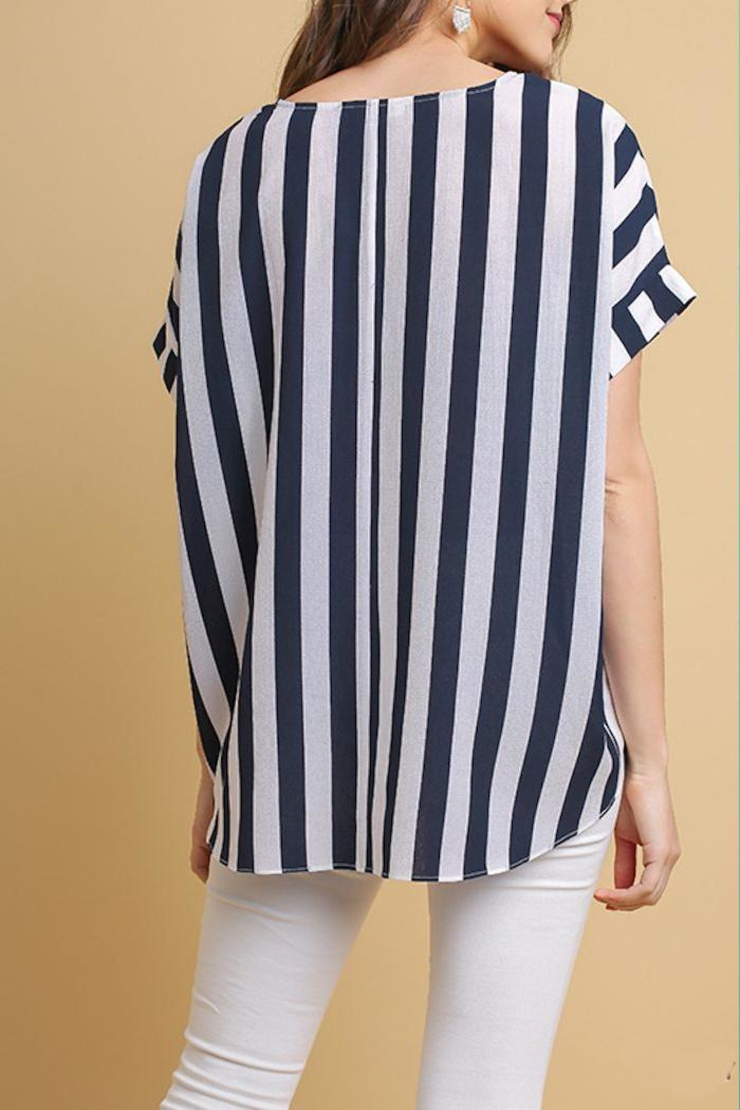 Umgee USA Striped High-Low Top - Front Full Image