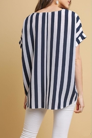Umgee USA Striped High-Low Top - Front full body