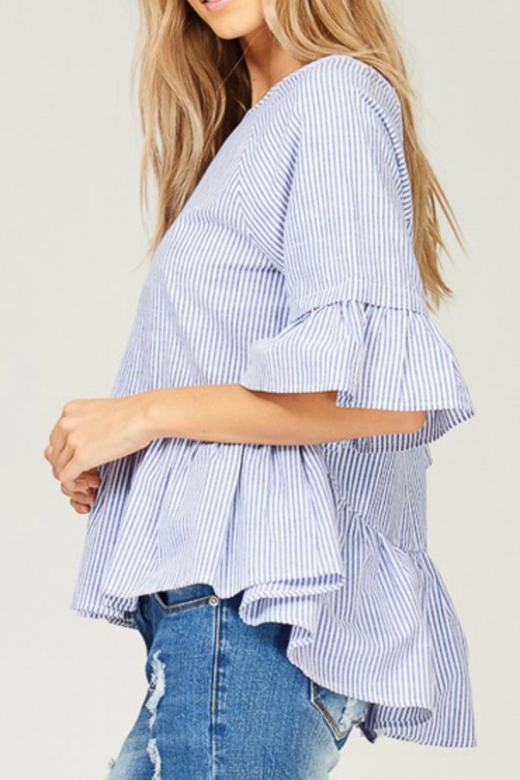 Listicle Striped High-Low Top - Main Image
