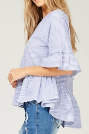 Listicle Striped High-Low Top - Front cropped