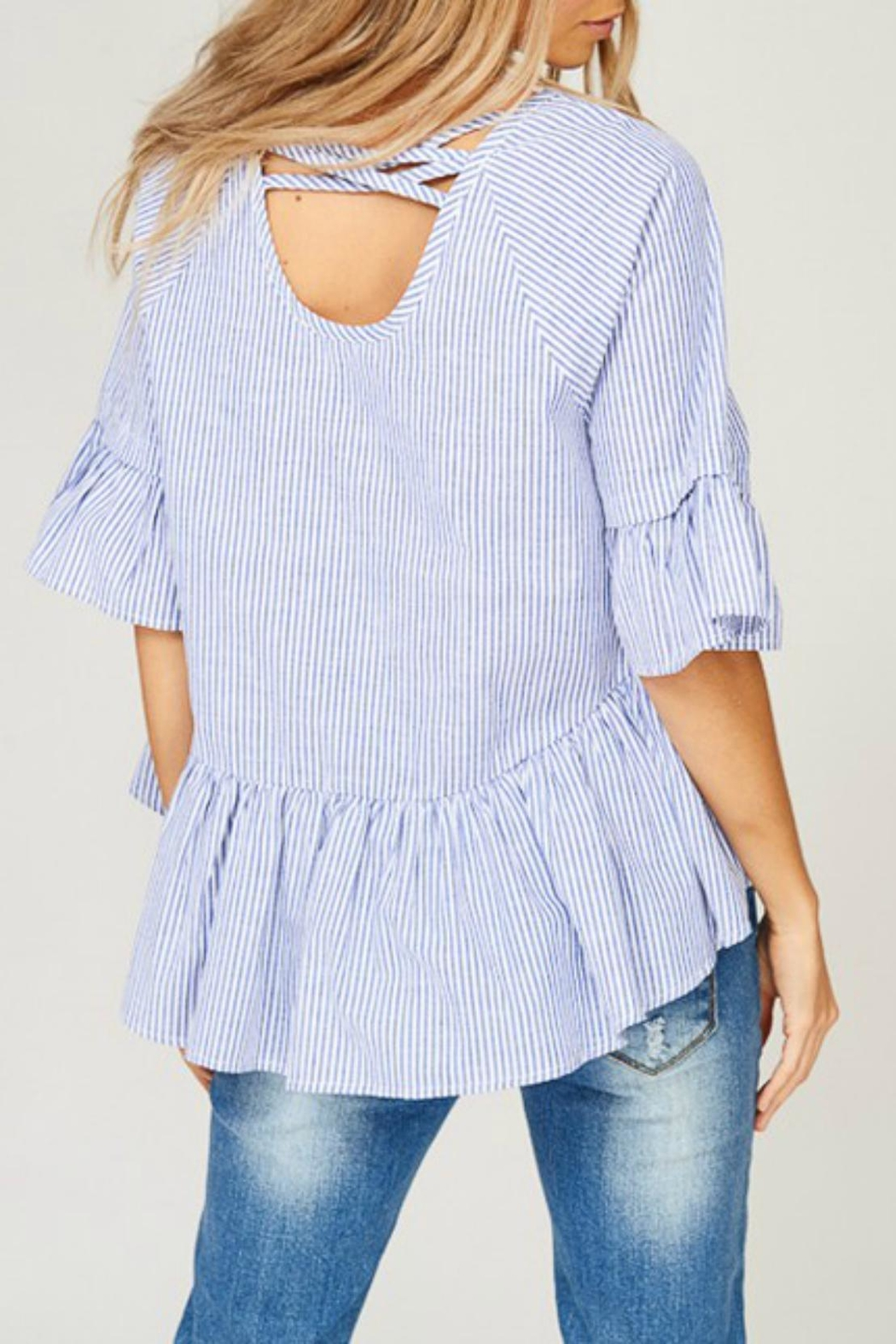 Listicle Striped High-Low Top - Side Cropped Image