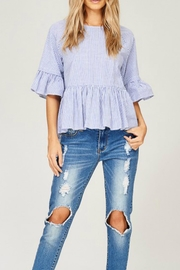 Listicle Striped High-Low Top - Back cropped